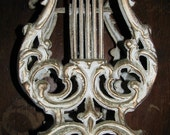 Vintage Cast Metal Music Note Sheet Music Holder, Ornate, Gold, Victorian, Edwardian, Classical Music, Piano Music Holder