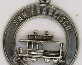 Vintage Sterling Silver Charm jewelry, San Francisco Cable Car, for Charm Bracelet retro Charms, California vacation souvenire Collectible Tourist Train  antique Railroad relic memories collectible Americana Tourist memoribilia nostalgia