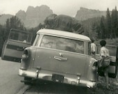 1950's Chevy Nomad Antique Car Girl Friends Vacation Trip July 1955 Outskirts of Grand Tetons National Park Wyoming B&W photos Girls 88c
