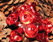 Vintage 1960's Christmas Bell Picks, Ringing Bells, Plastic Red Bells, Floral Pick, Red Bells antique X-Mas retro 60's Holiday Decoration