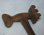 Antique Primitive Meat Tenderizer, Hammer, Rusty, Wall Hanging, Home Decor 79d