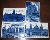 Vintage Delft Souvenir Tiles, 4 tiles, Amsterdam, Magere Brug, Keninhljk Palace, Central Station, 66H