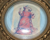 Antique Religious El Santo Niño de Atocha Plastic Frame, Bubble Glass Coscave, Sweet Picture 21J