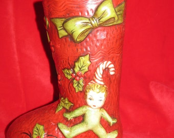 Vintage Ceramic Pixie Elf Stocking Vase, Christmas Decoration, Gnome, Bow, Stocking, Christmas Decor