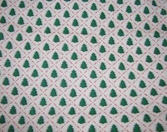 Christmas Cotton Fabric, Christmas Tree, Green Pine Tree Fabric, Reds, Greens, White, Holiday Fabric