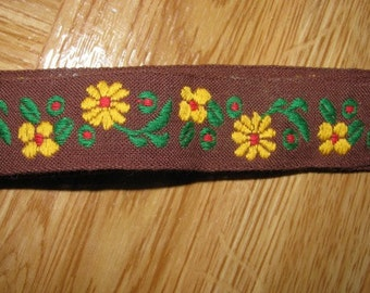 Vintage Brown Daisy Ribbon Trim 1 Yard Fall Ribbon Trim, Perfect for your fall costume, pillow, quilt, floral ribbon 49a