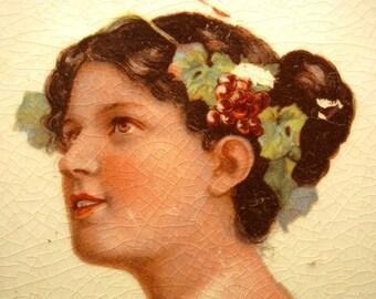 Vintage 1930's  Limoges China portrait plate, Victorian Plate, Home Decor, Beautiful Woman  retro 30's Antique Collectible Artwork