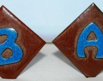 Vintage 1960's Men's Jewelry,  Cuff Links, Pair of Blue Copper, A & B Letters, Retro 60's Macho Man Fashion Design Style , Mad Men Cufflinks