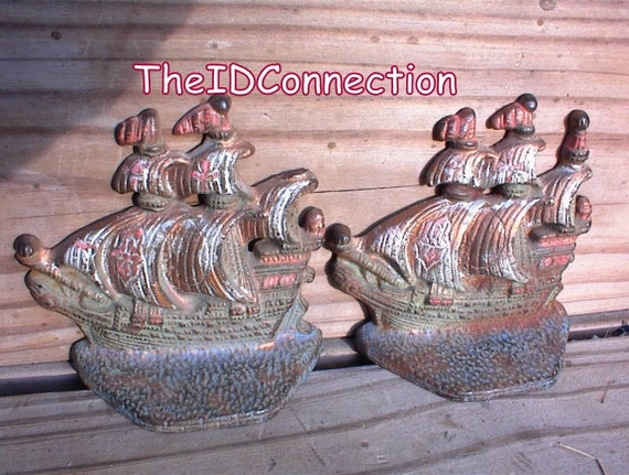 Book Ends, Vintage 1940's Cast Ship, Boat, Book Ends, Nautical Decor, Bookends, Old Time Sailing Ship Book Ends, Perfect for your Library Book Collection
