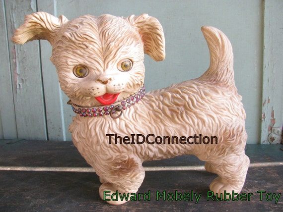 Vintage 1950 S Edward Mobley Rubber Toy Puppy Dog Terrier