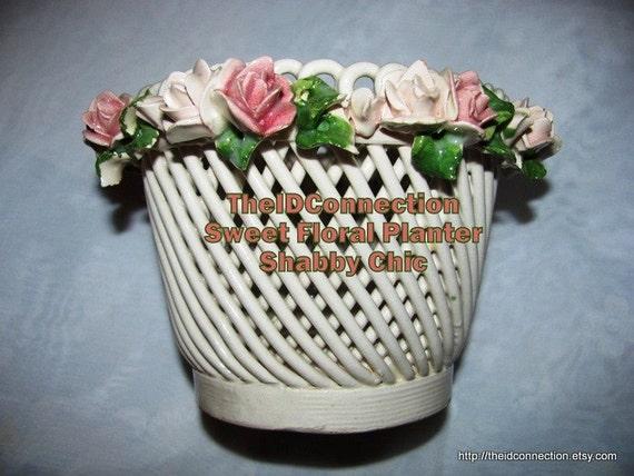 Vase 1960 S Pink Rose Floral Planter Made In Italy Basket