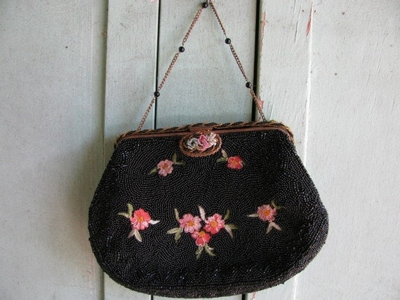Vintage 1930's Beaded Purse, Hand Beaded artwork Made in France, Beautiful, Elegant, Paris France, Tambour70f