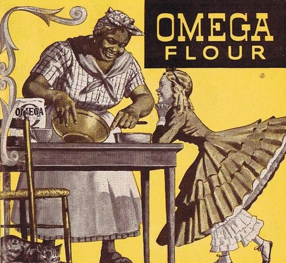 1920's Omega Flour Recipes for Cakes, Pastries and Hot Breads, Black Americana, Mammy, Baking hints, Cookies