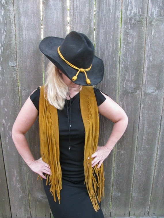 Vintage 1960's Leather Cowgirl Fringed Vest Texas style Western design , Rodeo Babe Fashion  Woman's Size 6 pure retro 60's Texana 36c