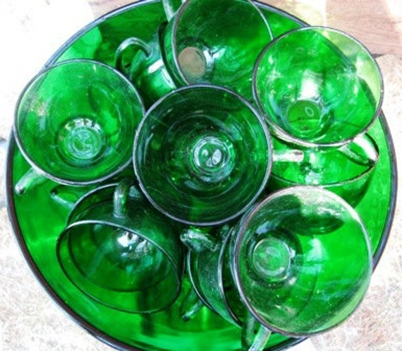 Green Glass Punch Bowl Set 15 cups, Egg Nog Bowl & Cups, Holiday Christmas Punch Bowl Set, Anchor Hocking