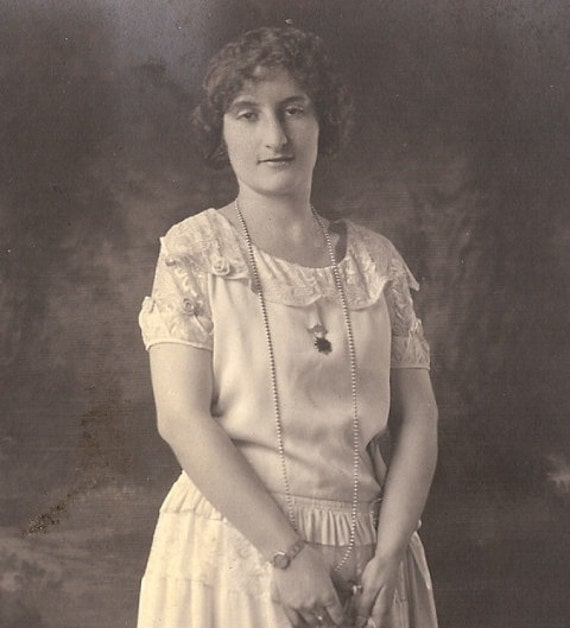 Vintage 1920's Black & White Photograph, Lenora Dorian, Galveston Texas Socialite, Graduation Photo, Piano Teacher