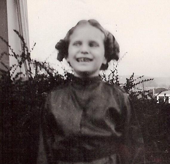 1944 Spooky B&W Photograph, Girl, Mary Jane Collection, Halloween Costume, Geisha Girl, Oriental Girl, 2nd Grade