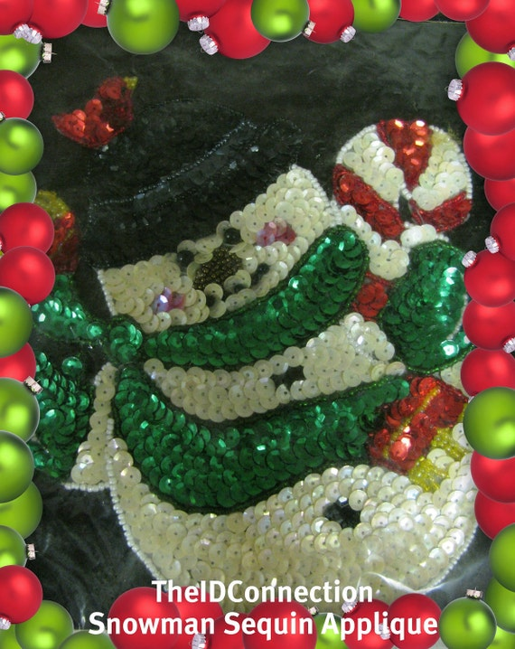 Christmas Snowman Sequin Applique, clothing Embellishment, Frosty the Snowman, Candy Cane retro X-mas style fashion design Holiday art