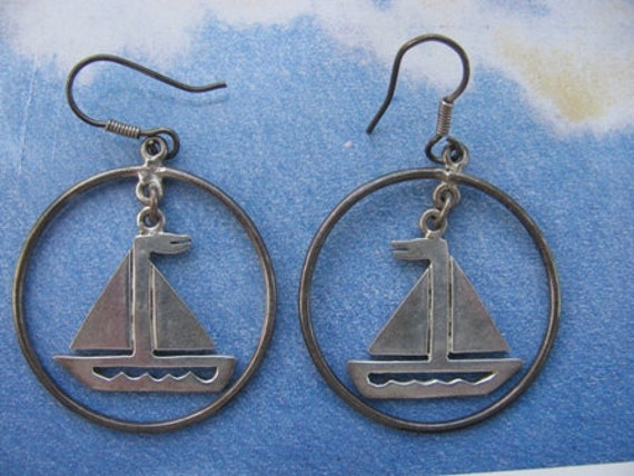 Sterling Sail Boat Earrings, Vintage, 925 Silver, Mexican Silver,  Dangle Earrings, Ship, Boat, Cruise Ship Earrings