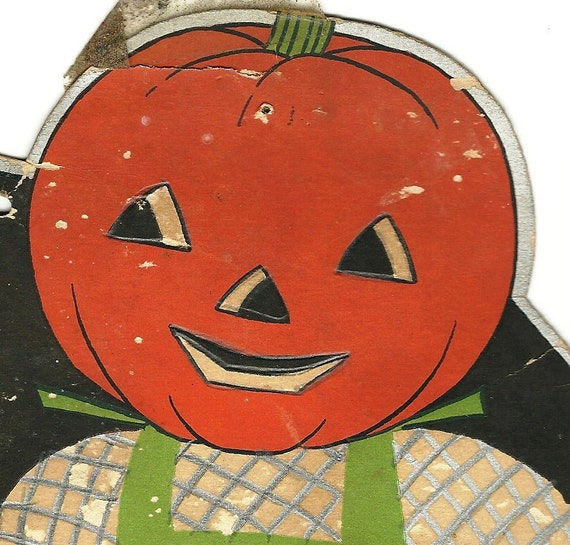 1930's Pumpkin Scarecrow Color Copy, Up Cycle, Haunted House, Halloween Decor, Spooky, Halloween Party Decoration, Pumpkin, Jack-O-Lantern