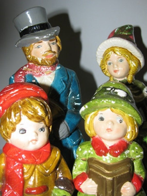 Vintage 1970's Dickens Figurines, Ceramic Christmas Decorations, Holiday Decor, Charles Dickens Family retro 70's X-Mas