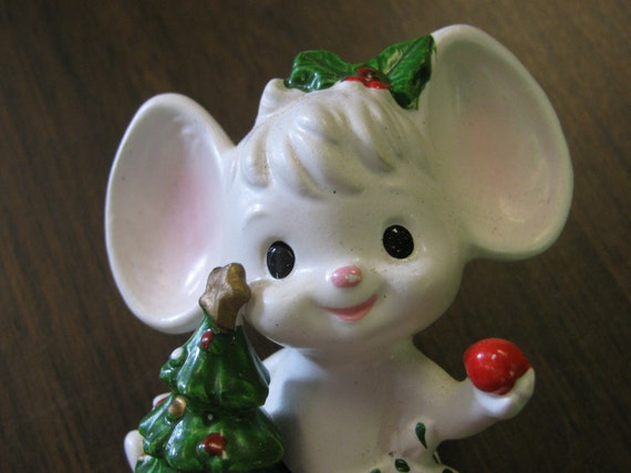 Christmas Mouse Figurine, Christmas Tree, Bulb The Night Before Christmas, Field Mouse, Mice