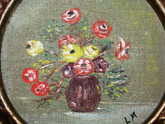 Vintage Flower Painting, Oil, Miniature Flower Bouquet, Roses, Posey Painting, Gold ornate frame