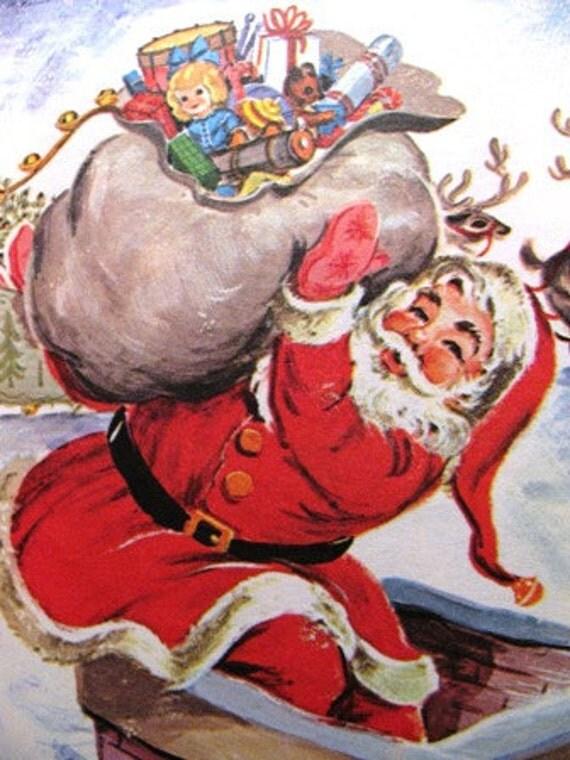Christmas 1969 The Night Before Christmas book , Santa Clause, Kris Kringle, Christmas Tree, Western Publishing retro 1960's X-Mas Holiday