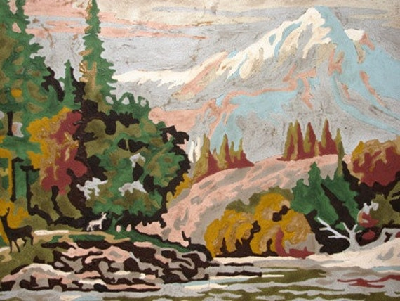 Paint by Number Land Scape, Mountains, Maroon Bells, Pine Trees, Trickling Brook, Rocks, Snow Capped Mountains 12H