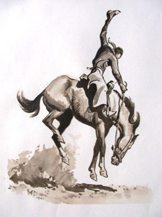 Vintage Bronco Rider Print, M.D. 1941, Like A Sunfisher by Frederick Remington, Cowboys, Cowpoke, Horse, Bronco