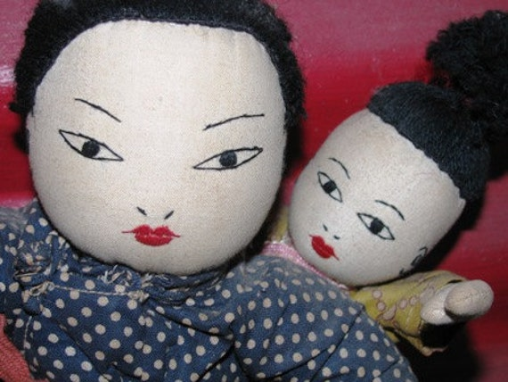 Antique Chinese Dolls, Mother & Baby, Oriental Doll Baby, Chinese New Years Dolls, Rag Dolls, Needle Point G63