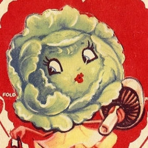 Lettuce Vegetable Valentine Card, Greeting, Valentine Card, I'd like to bring thin,gs to a HEAD so LETTUCE be Valentines, Mushroom