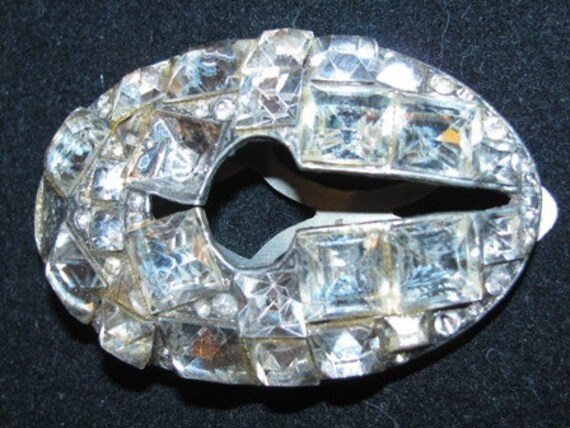 Costume Jewelry Rhinestones 1940's  Shoe Clip ornate fashion style design  antique Jeweler collectible Show Girl Tap Dancer