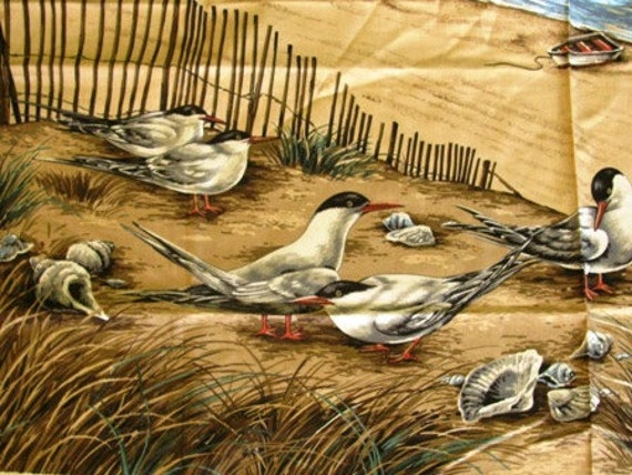 Nautical Quilt Fabric Panel, Seagulls, Beach, Sand, Ocean, Sand Dunes, Fence, Ocean Waves