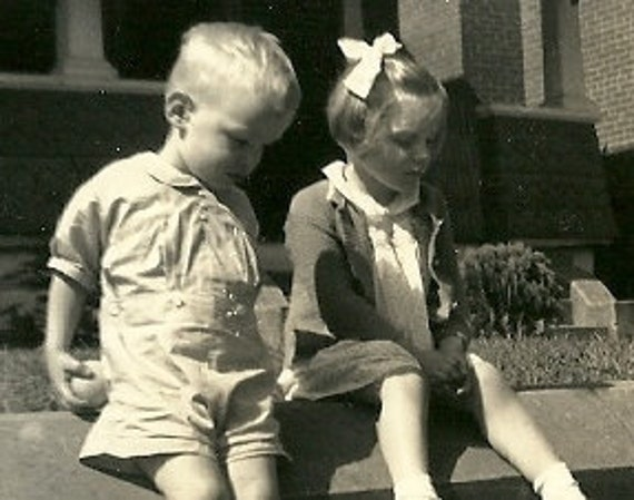 1940's Mary Jane & Billy, Sitting on the Sidewalk, Sweet Toddler Pic