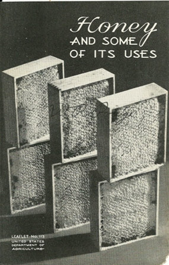 1936 US Department of Agriculture, Honey and of it's uses, Recipes, Bee Hive, Honey Bee, Nougat, Confections, Turkish Paste and more