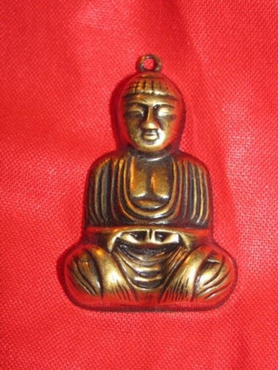 Jewelry 1970's Buddah Vintage Brass Pendant, Bud-ah, Budah, Religious Icon Buddist 32J
