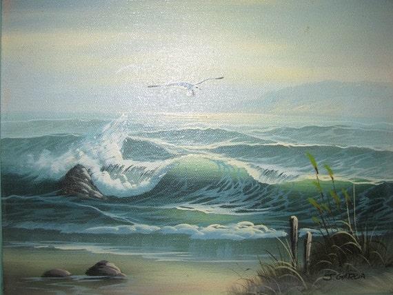 Beach Dunes Sea oil painting 1970's Vintage Ocean Waves, Nautical, Ocean, Sea Gulls, seascape  Beach Life retro 70's seashore 63b