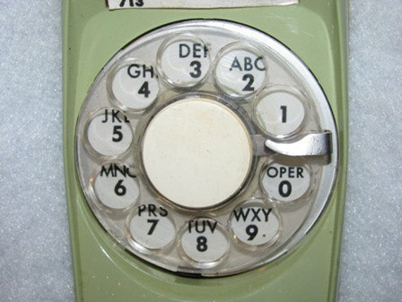 Vintage Telephone, Rotary Dial, Moss Green, Bell Telephone, Phone, Retro 64d