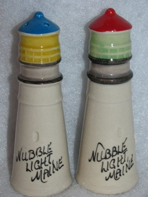 Vintage Light House Salt & Pepper Shakers, Nubble Light Maine, Nautical, Sweet  65d