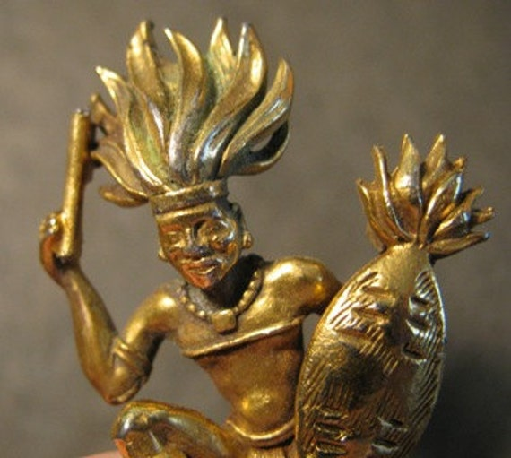 Vintage 1970's Jewelry Brooch, Gold, Mayan Warrior, American Indian, Inca tribal war dancer  golden African Tribe Jeweler retro 70's 35e