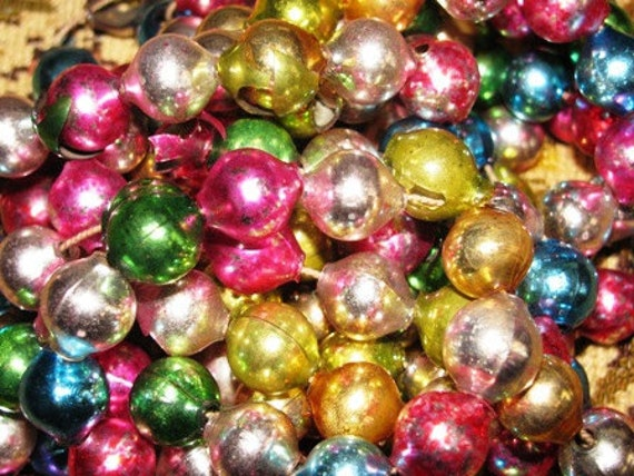 Vintage Mercury Glass Ball Garland, Multi Color Shabby Chic Holiday Decor, Glass Balls, Country Folk 35G
