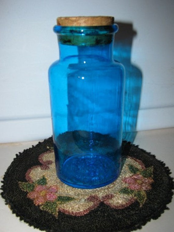 Vintage Glass Bottle, Apothecary Jar, Cork Top, Sun Catcher, Teal or Turquoise, Storage Jar with Lid 44G
