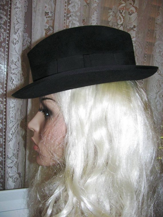 Black Fedora Mens Hat1950S Champ Dick Tracy Vintage-7711
