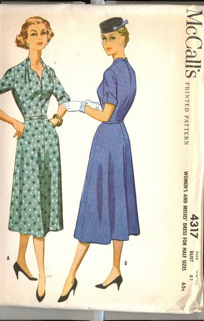 Vintage 1940's McCalls Sewing Dress Pattern Printed