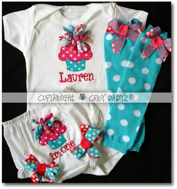 CUSTOM for Chrissy Curly CUPCAKE I'm One Applique Bloomer Diaper Cover with Onesie Set