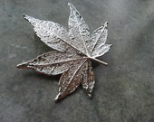Real Japanese Maple Leaf Brooch/Pin and Pendant - Sterling Silver