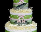 Girl Twins - Two Peas in a Pod Baby Shower Diaper Cake/ Centerpiece Gift