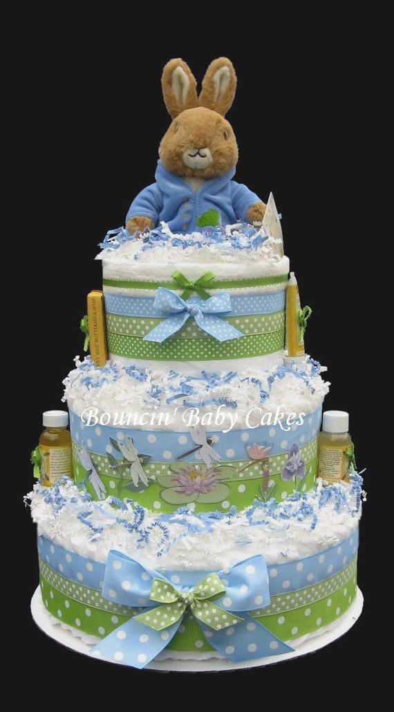 Diaper Cake Centerpiece For Baby Shower : Peter Rabbit Baby Shower Diaper Cake/ Centerpiece Gift