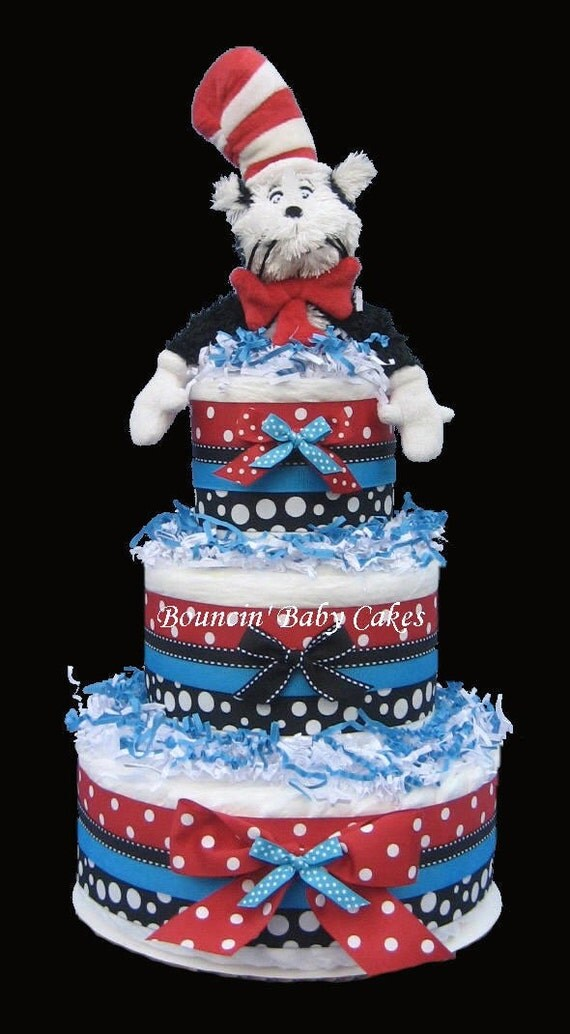 The Cat in the Hat Baby Shower Diaper Cake Centerpiece Gift